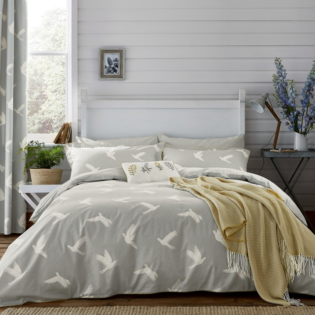 Sanderson Home Paper Doves Mineral Grey Bedding