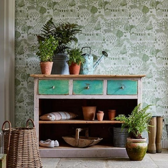 Sanderson Home Potting Room Wallpapers