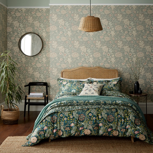 William Morris Wilhelmina Teal Bedding