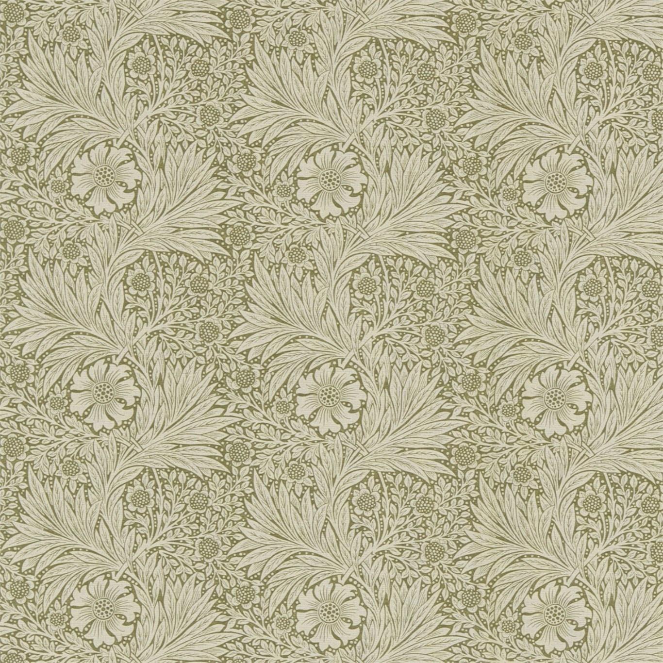 Image of Morris & Co Marigold Olive/Linen Fabric 220318 3m Remnant