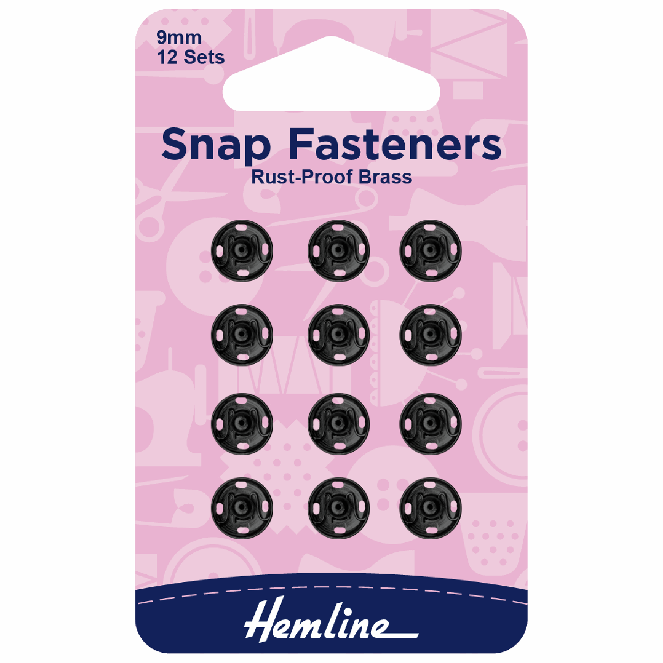 Image of Black Sew-on Snap Fasteners | 9mm