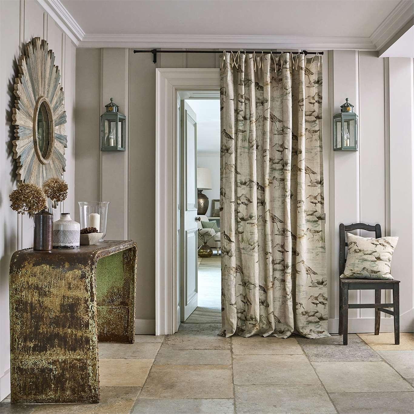 Sanderson Estuary Birds Linen Eggshell/Nest Curtain Fabric 226427