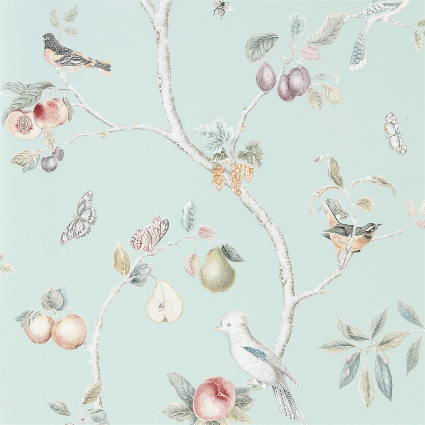 Sanderson Fruit Aviary Duck Egg Multi Wallpaper 216312