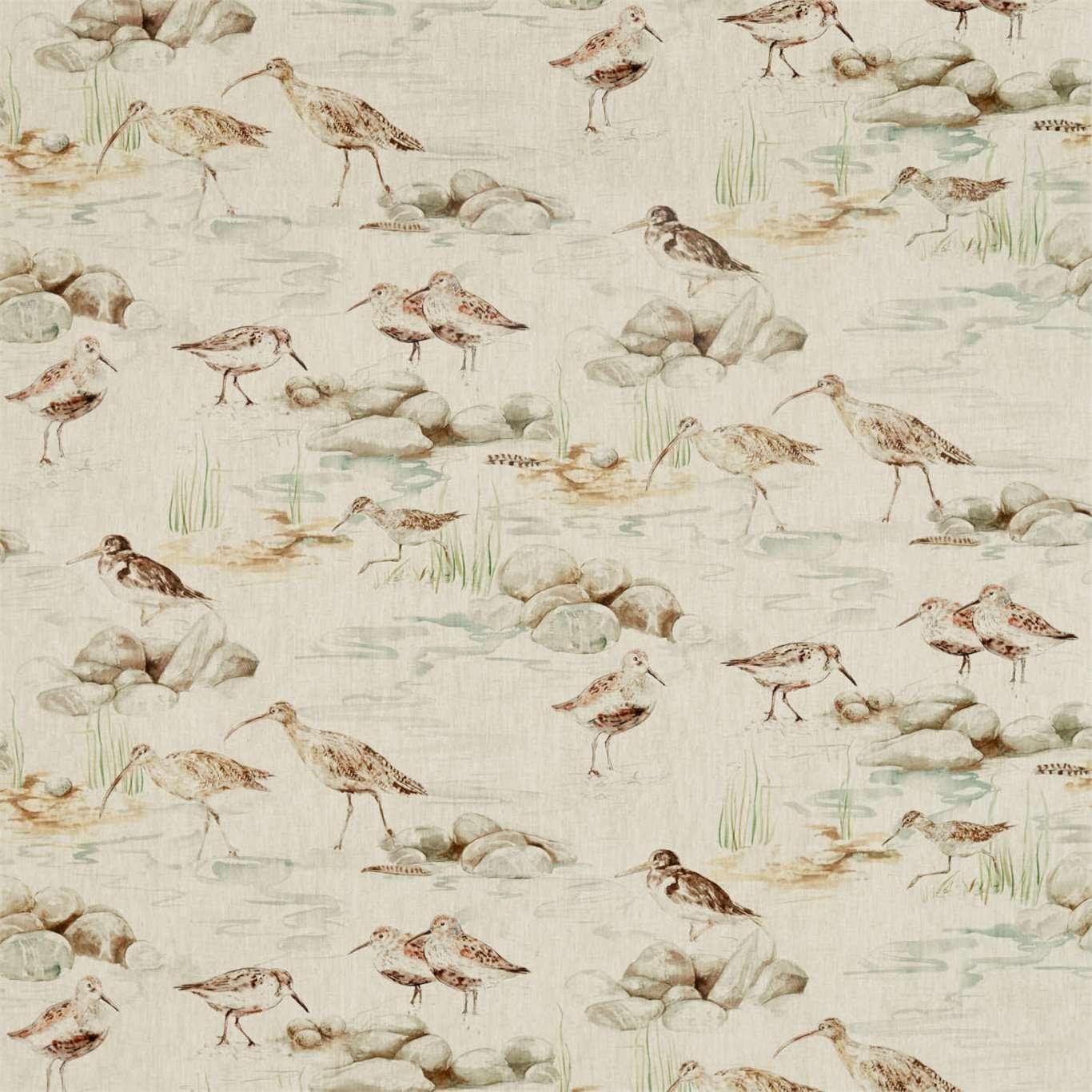 Image of Sanderson Estuary Birds Linen Eggshell/Nest Curtain Fabric 226427