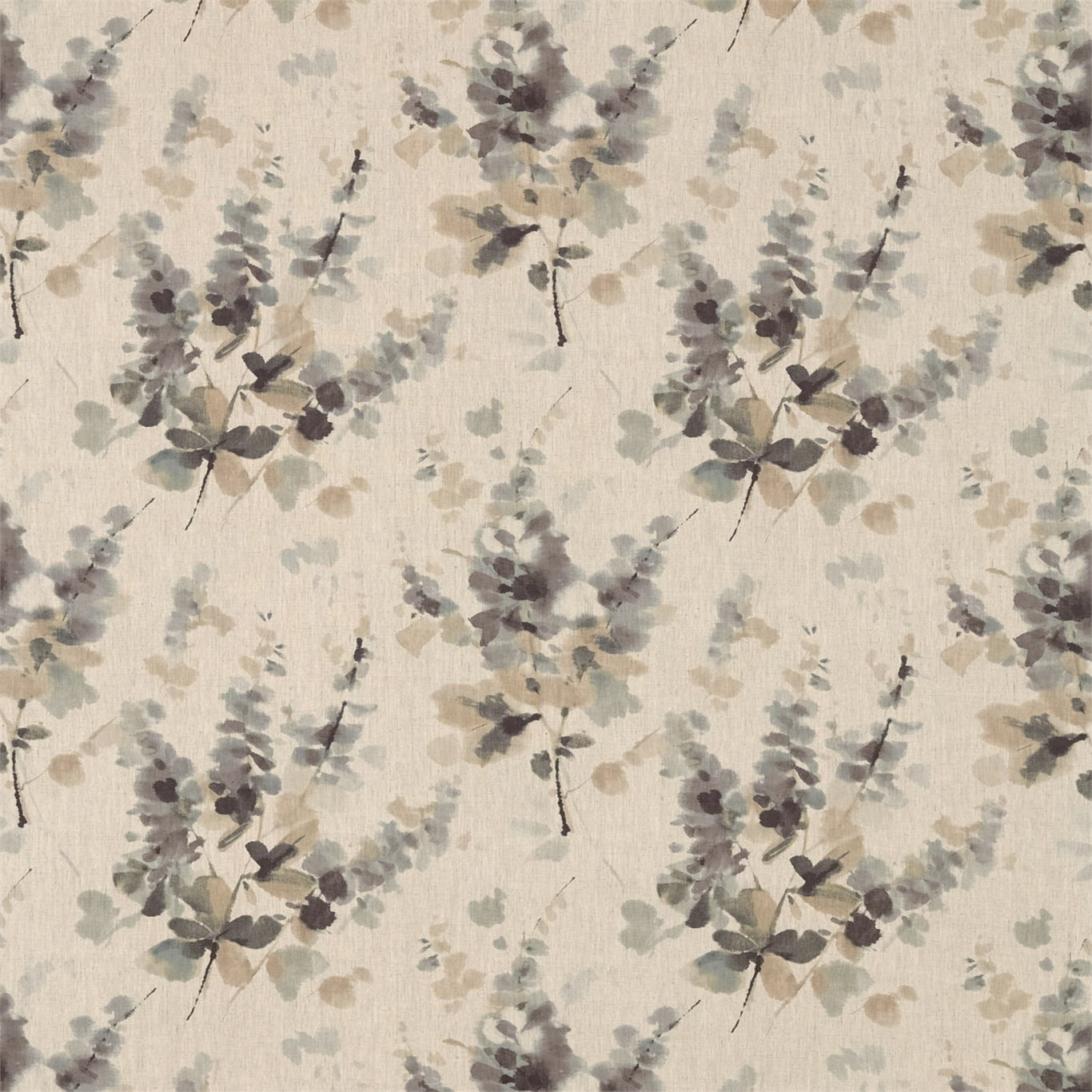 Image of Sanderson Delphiniums Charcoal Fabric 226291