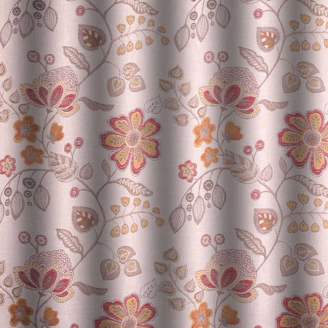 Voyage Hartwell Terracotta Curtain Fabric
