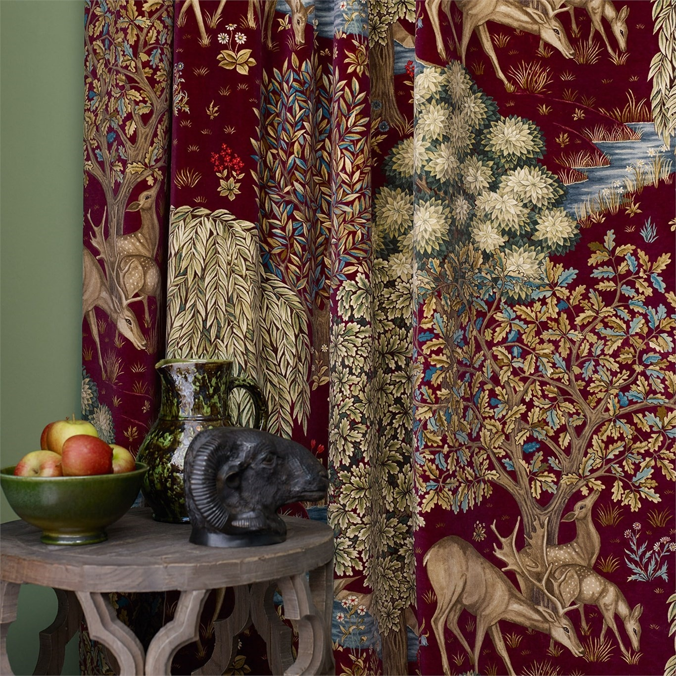 Morris & Co The Brook Tapestry Red Curtain Fabric 224498