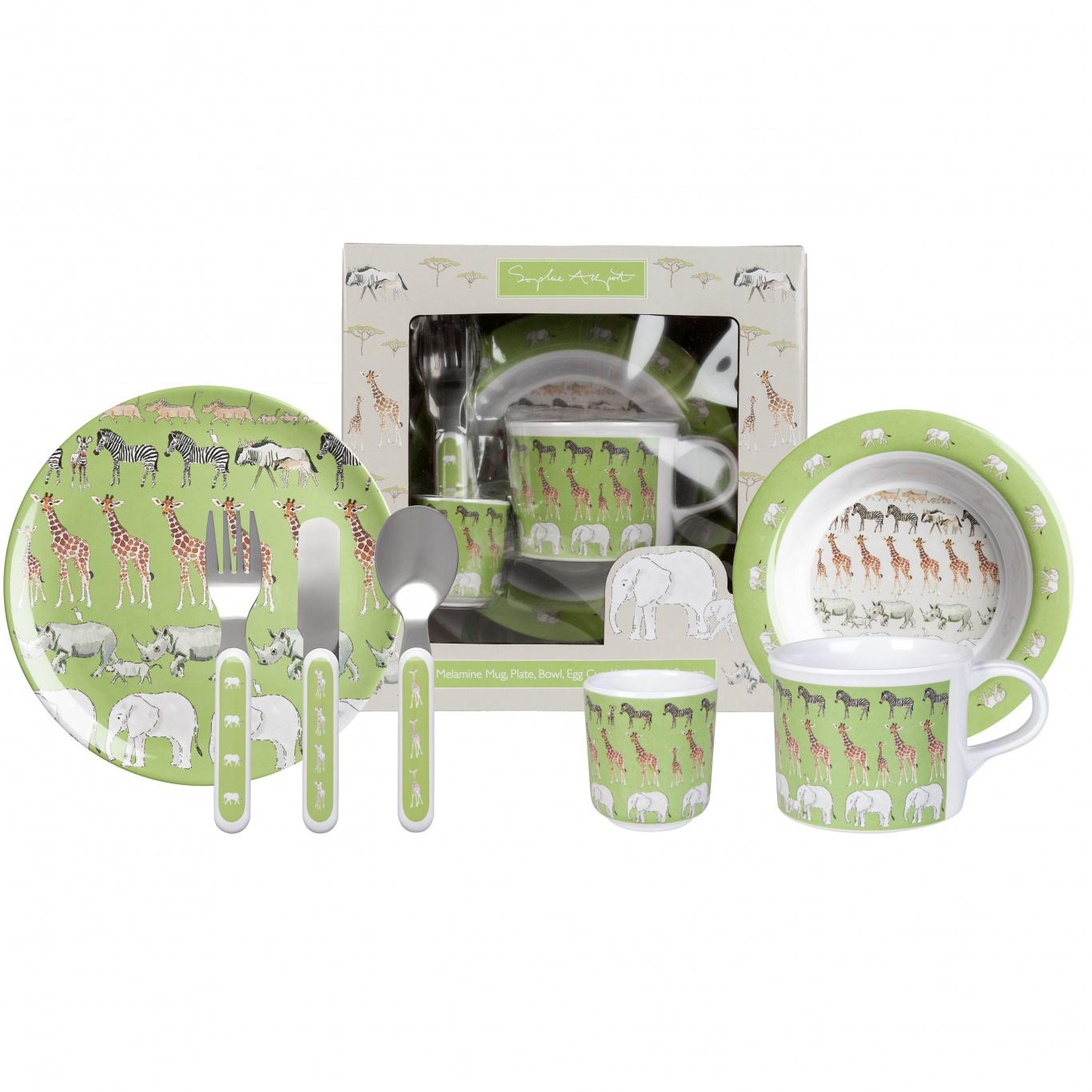 Image of Sophie Allport Safari Childs 7 piece Melamine Dinner Set