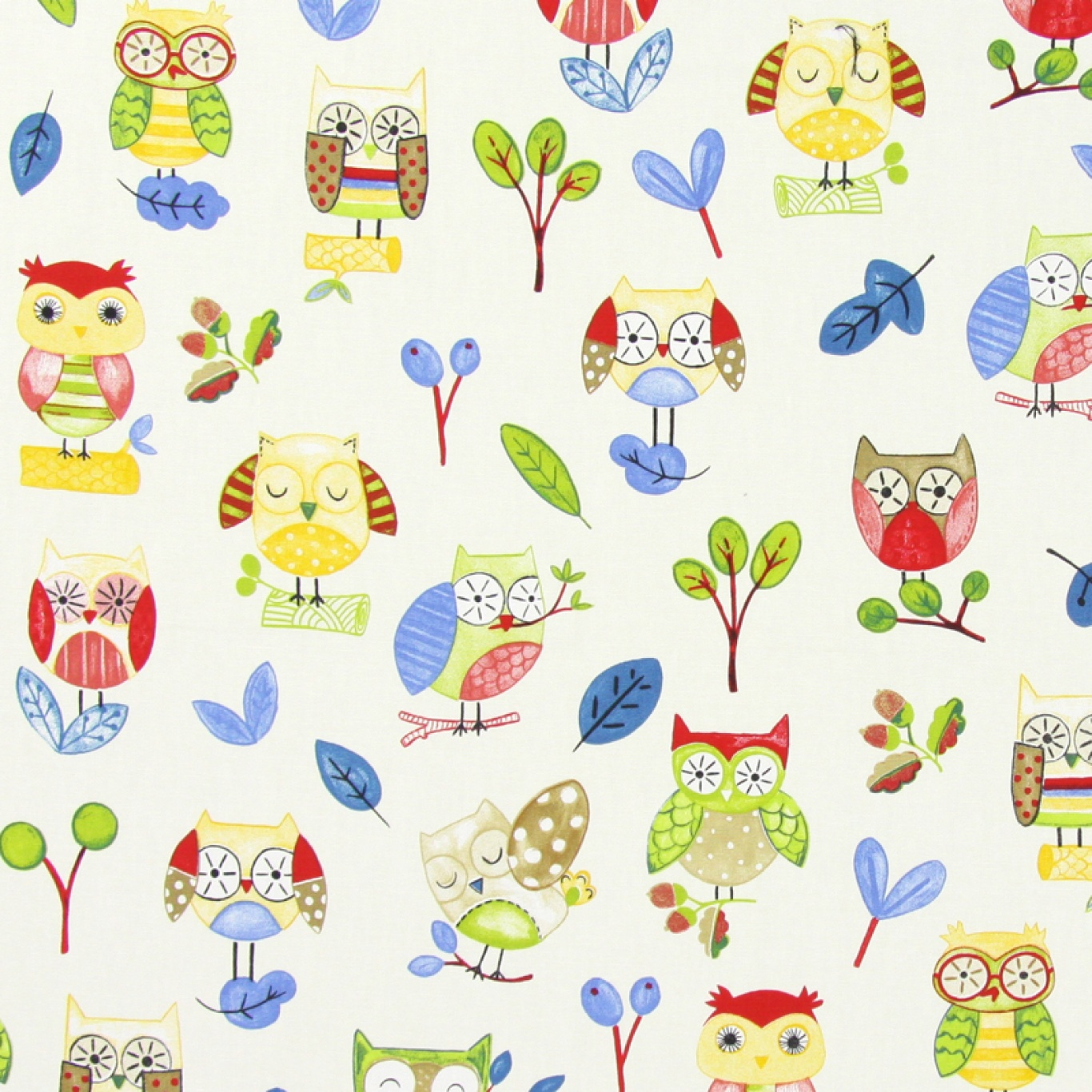 Image of Prestigious Ollie Owl Paintbox Curtain Fabric