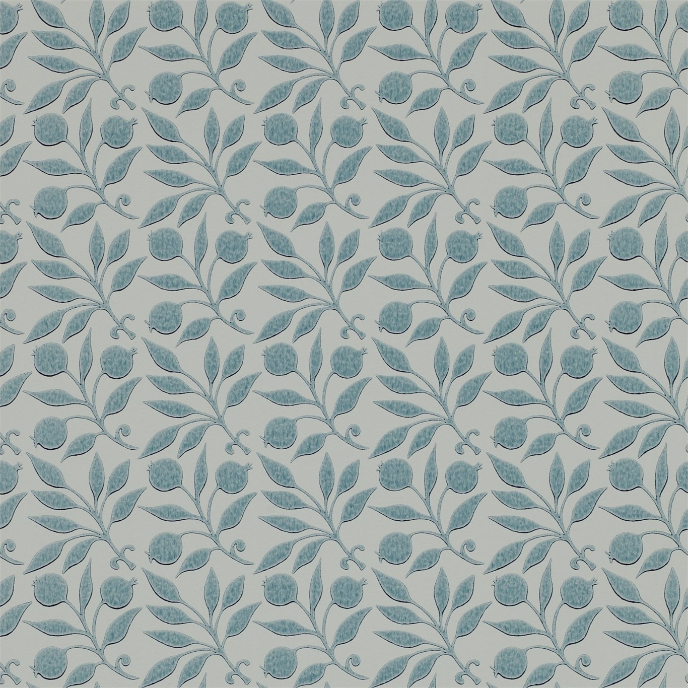 Image of Morris & Co Rosehip Mineral Blue Wallpaper 214710