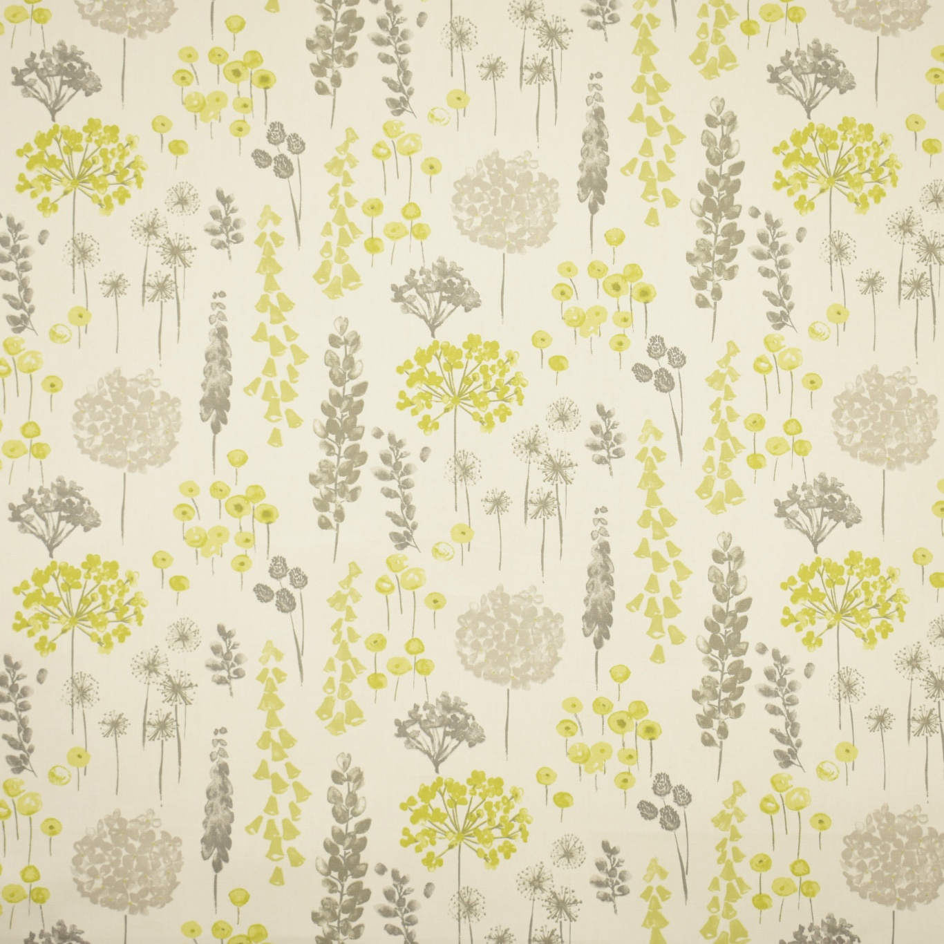 Image of Gordon Smith Herbacious Lime Grey Curtain Fabric