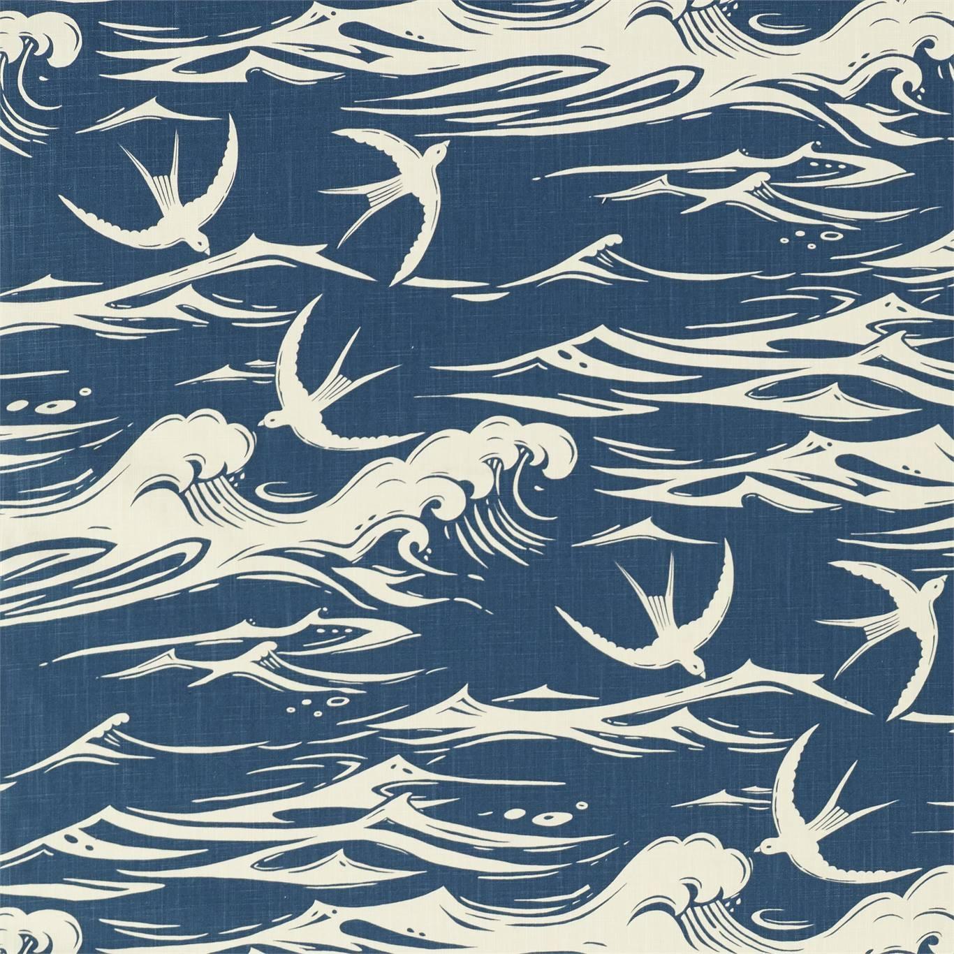 Image of Sanderson Swallows at Sea Navy Fabric 226741