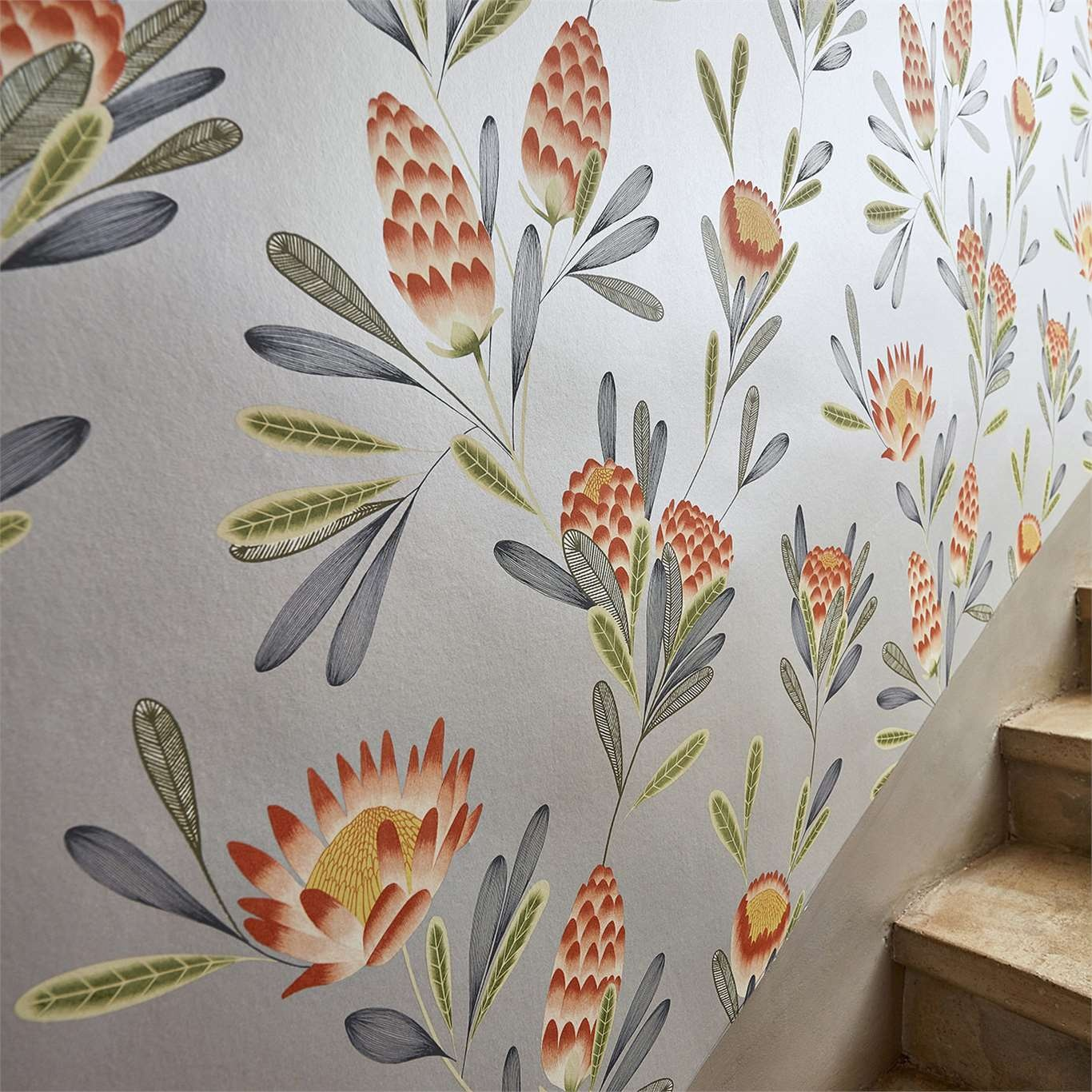 Harlequin Cayo Coral/Silver Wallpaper 111773