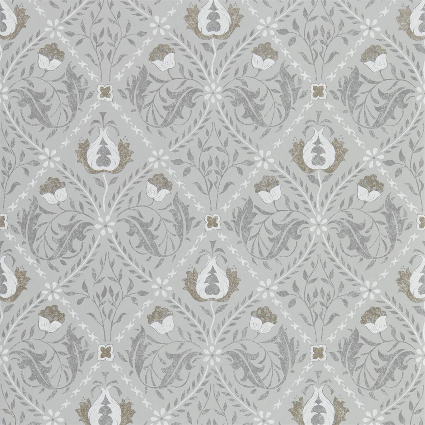 Image of Morris & Co Pure Trellis Lightish Grey Wallpaper 216528
