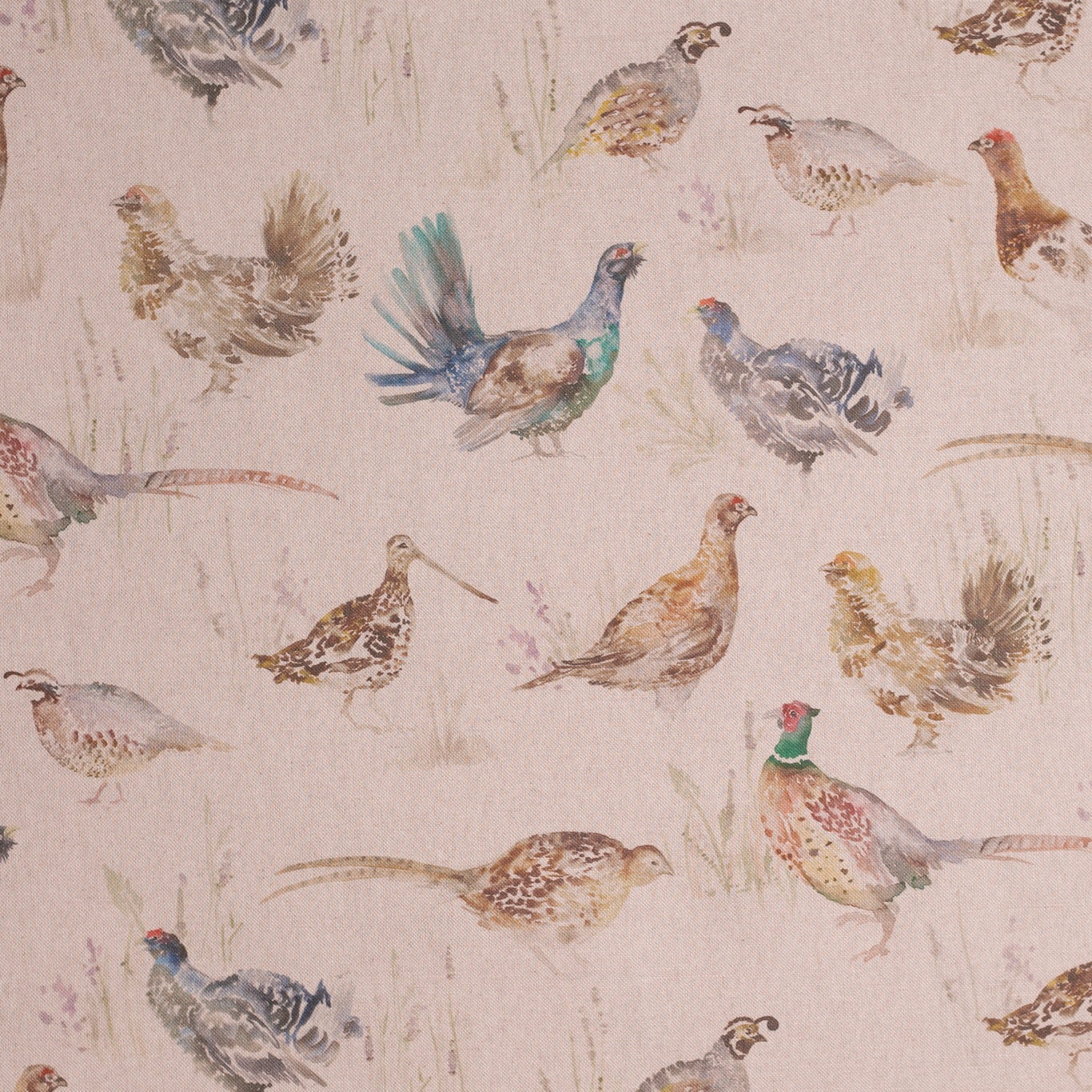 Image of Voyage Game Birds Linen Small Fabric 3m Remnant
