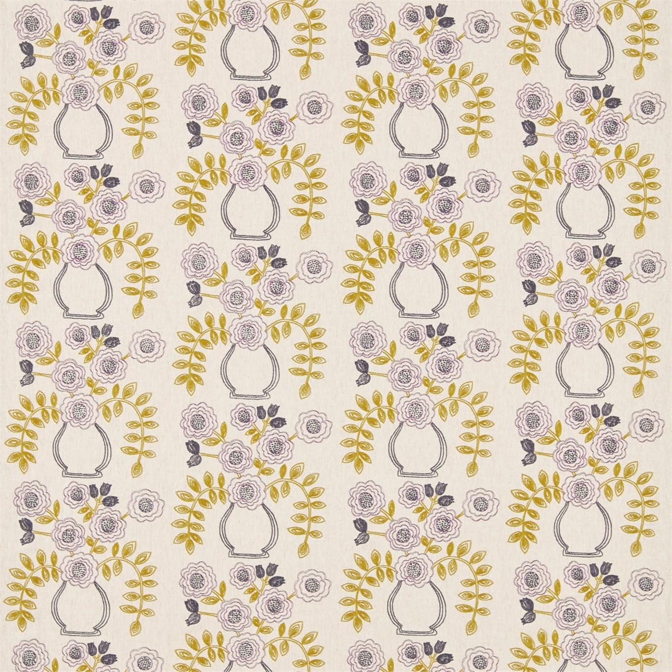 Image of Sanderson Home Flower Pot Fig/Olive Curtain Fabric 235878
