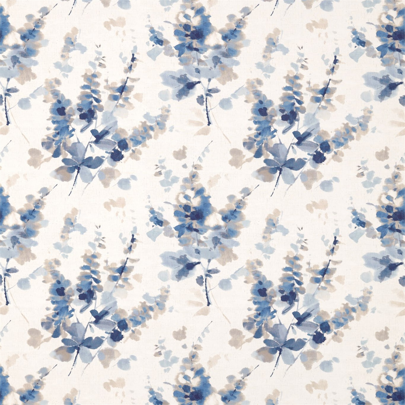 Image of Sanderson Delphiniums Indigo Fabric 226288