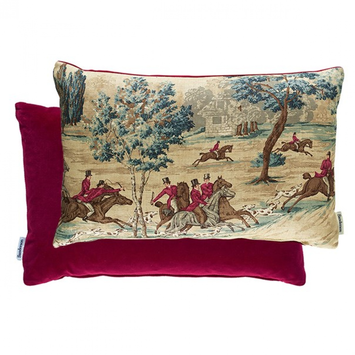 Image of Sanderson Tally Ho Teal/Ruby Cushion