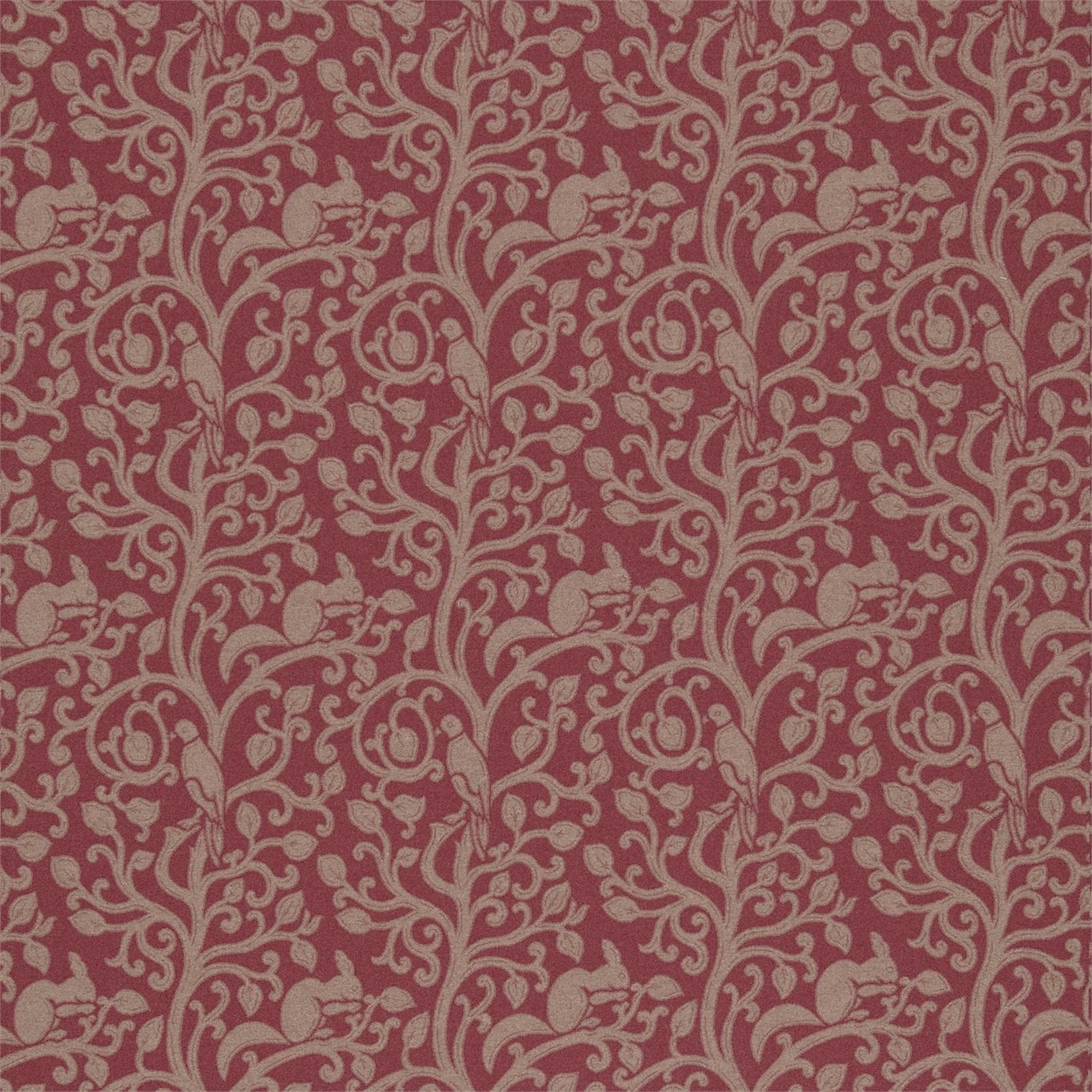 Image of Sanderson Squirrel & Dove Wool Cherry Fabric 233267