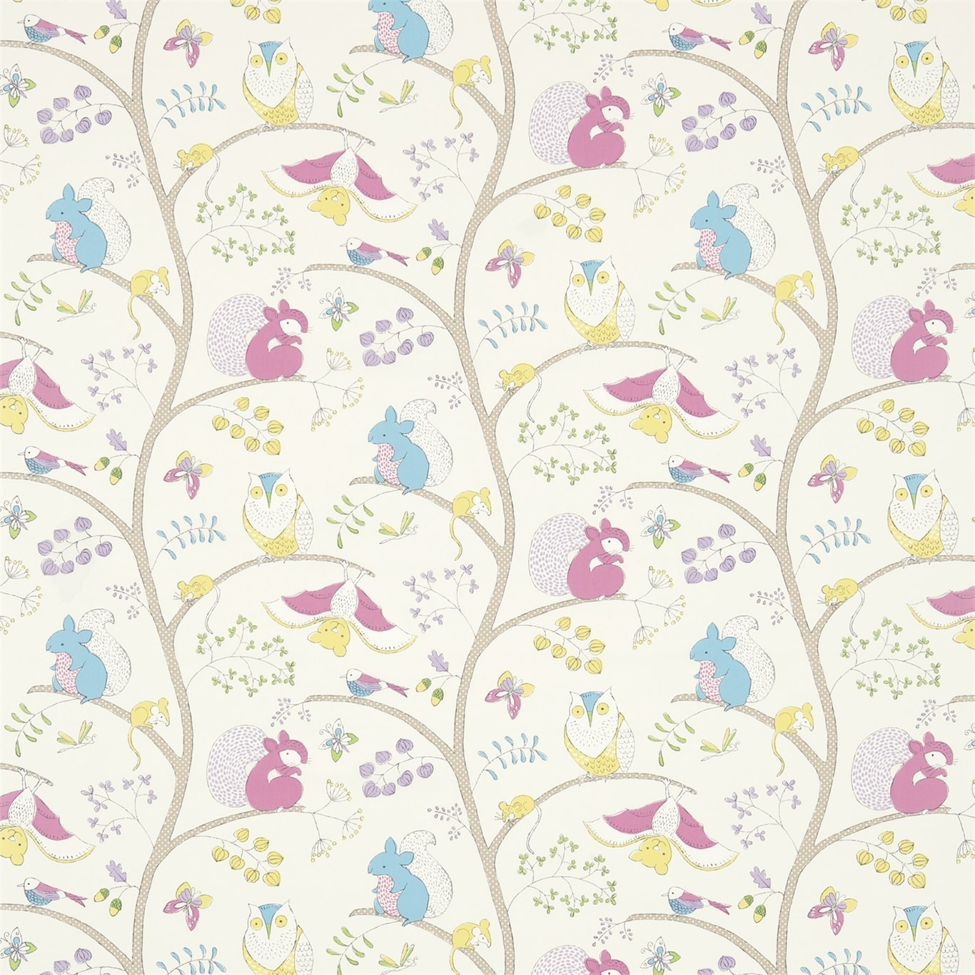 Image of Sanderson Going Batty Pink/Blue Fabric 223899