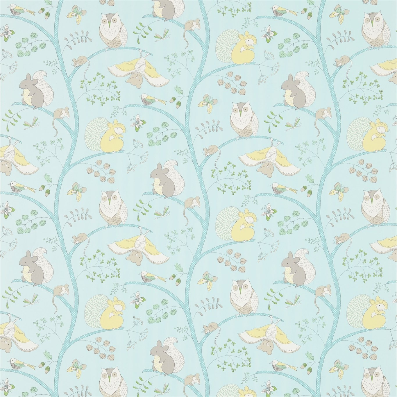 Image of Sanderson Going Batty Sky Blue/Buttercup Fabric 223900