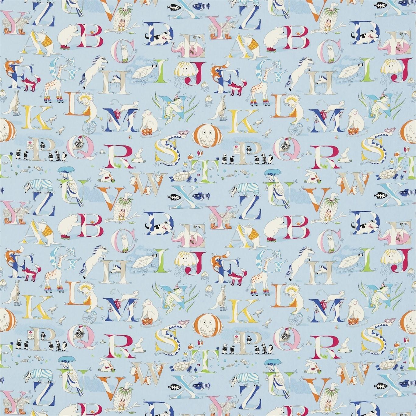 Image of Sanderson Alphabet Zoo Powder Blue Fabric 223912