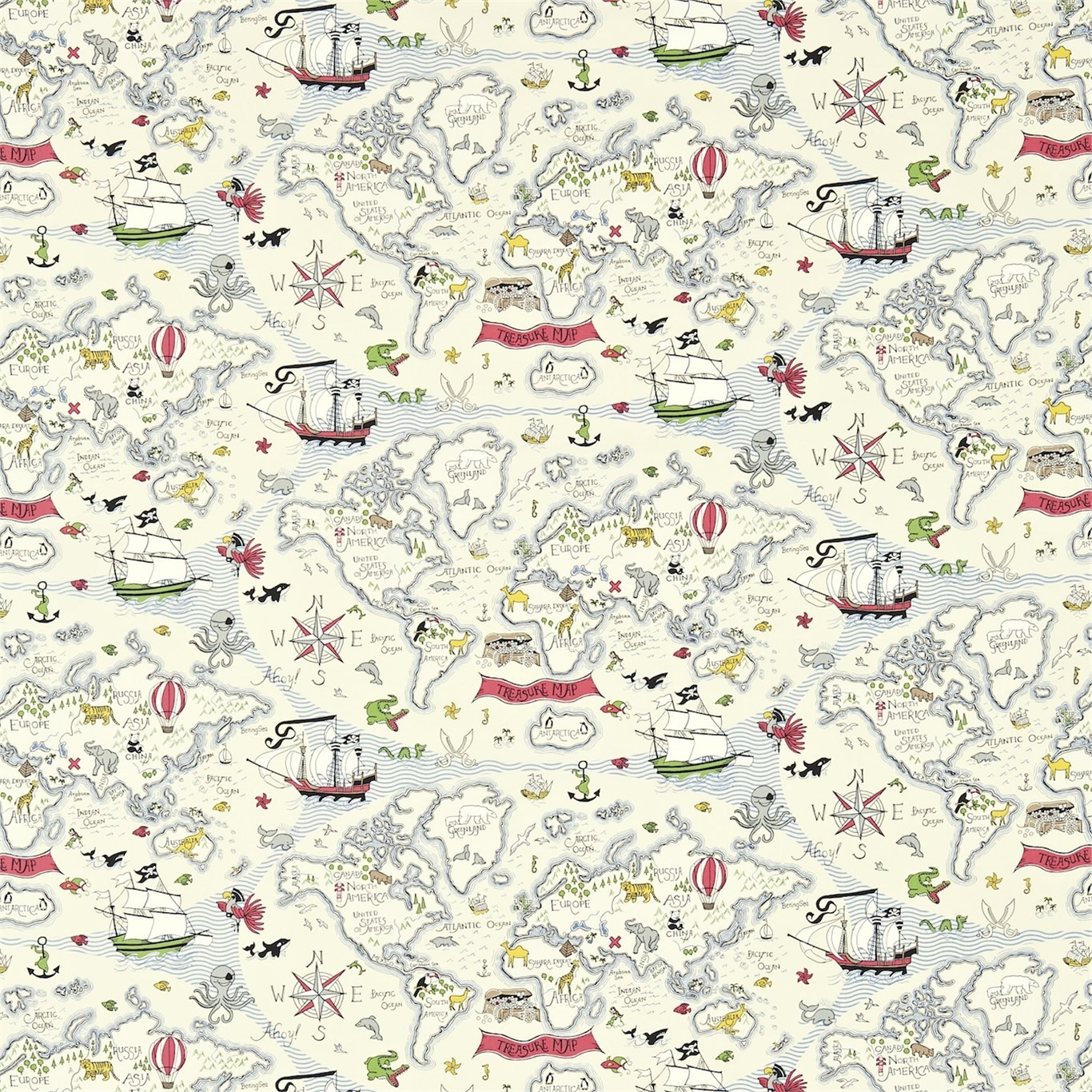 Image of Sanderson Treasure Map Vanilla Fabric 223913