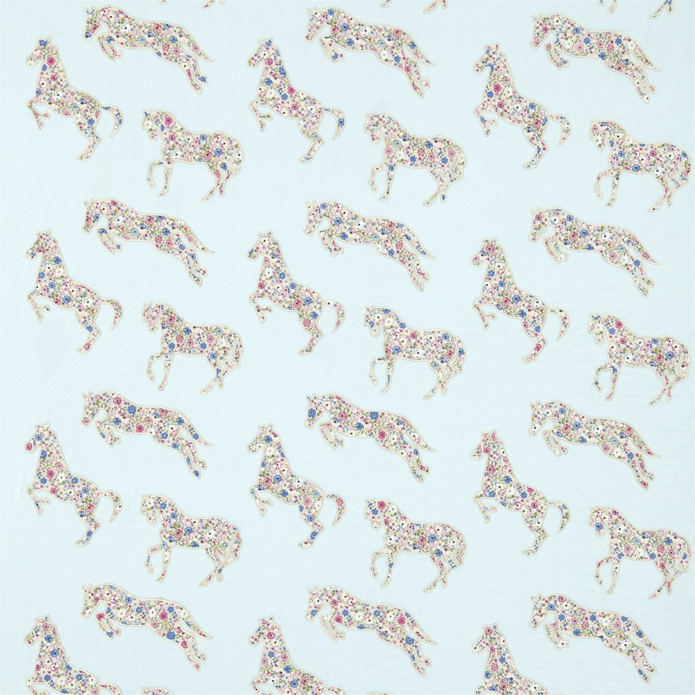 Image of Sanderson Pretty Ponies Chintz/Blue Fabric 233925