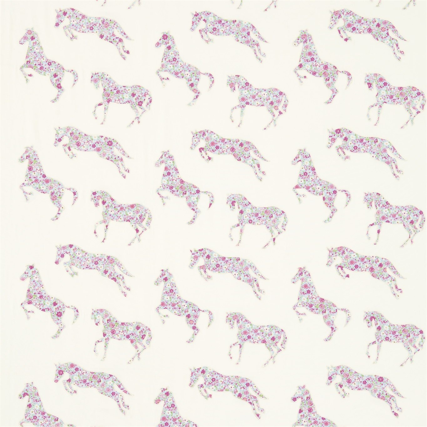 Image of Sanderson Pretty Ponies Pink/Sky Fabric 233926