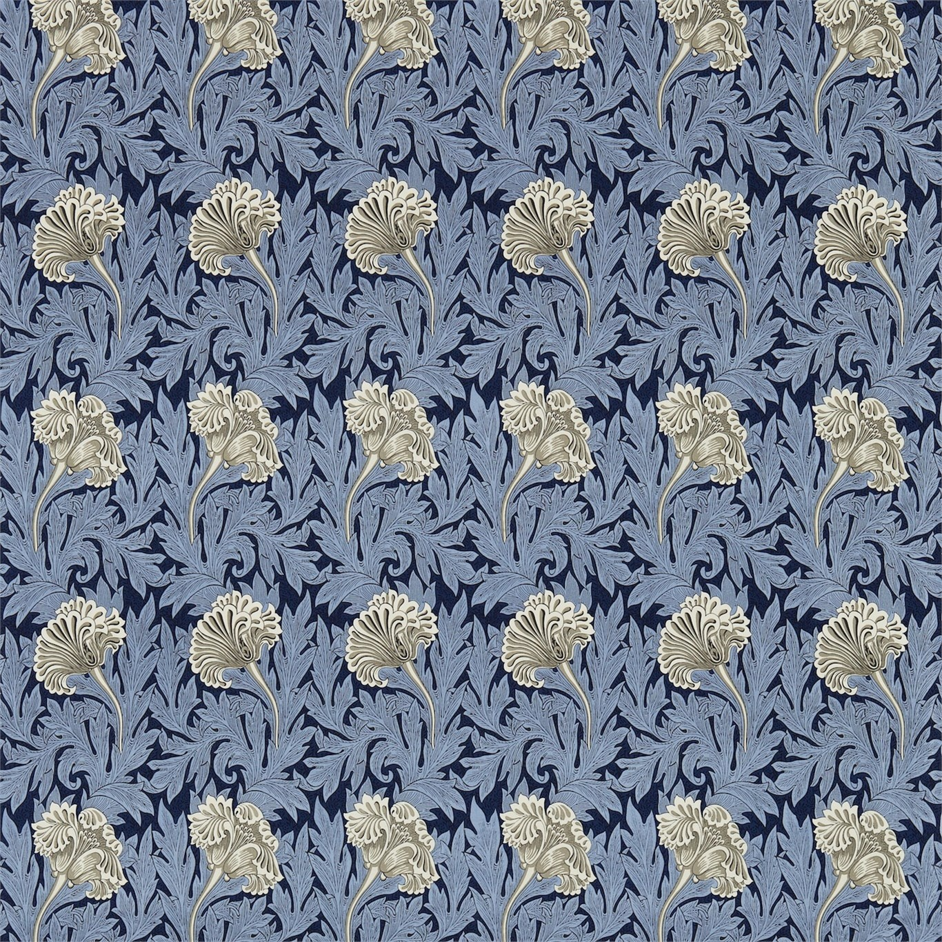 Image of Morris & Co Tulip Indigo/Linen Curtain Fabric 224460