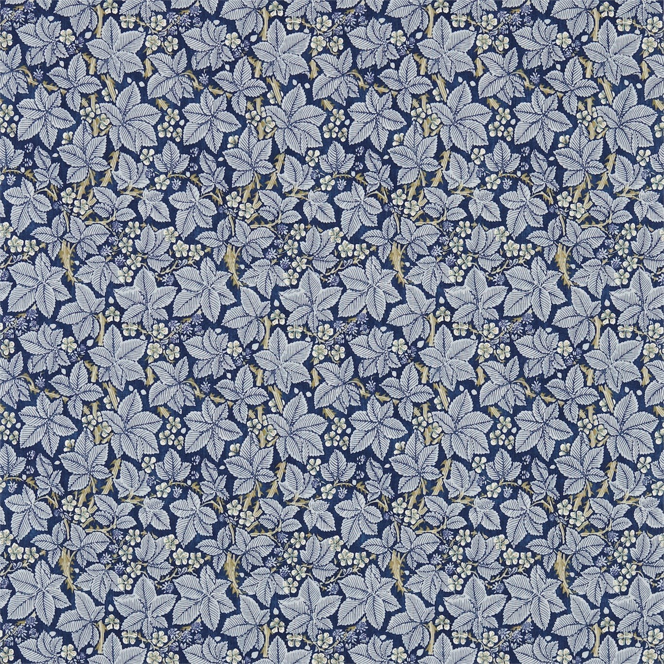 Image of Morris & Co Bramble Indigo/Mineral Curtain Fabric 224463