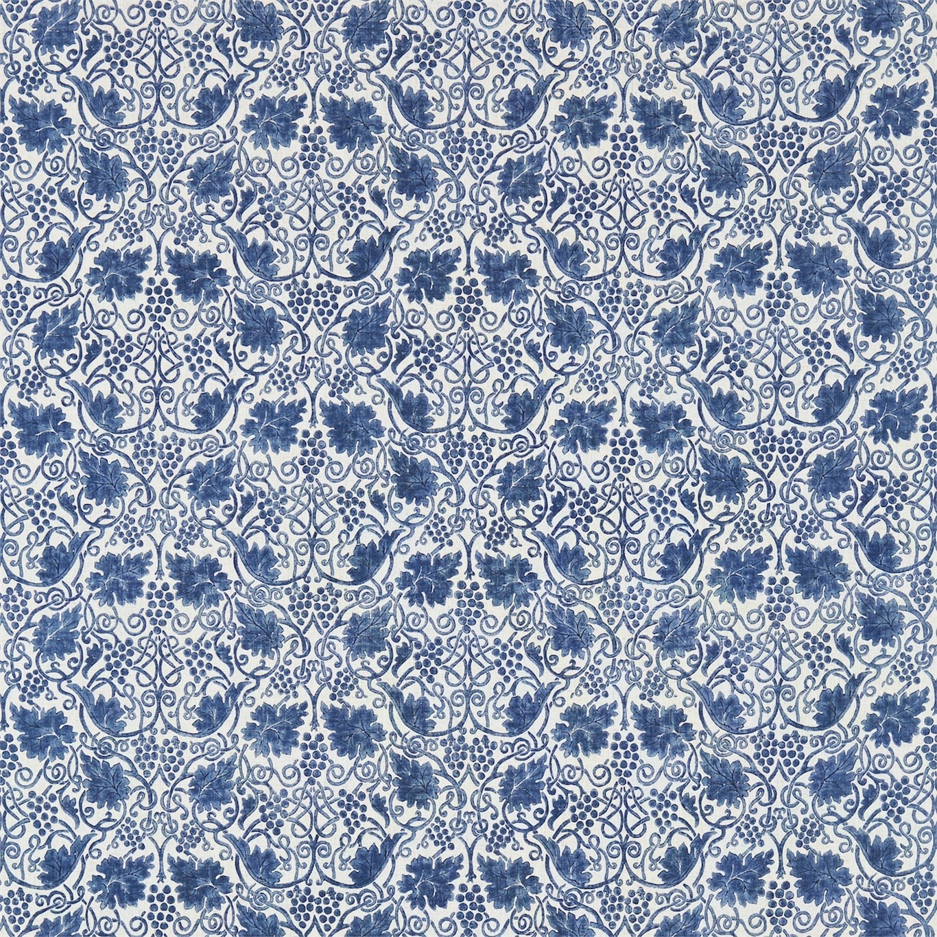 Image of Morris & Co Grapevine Indigo Curtain Fabric 224476
