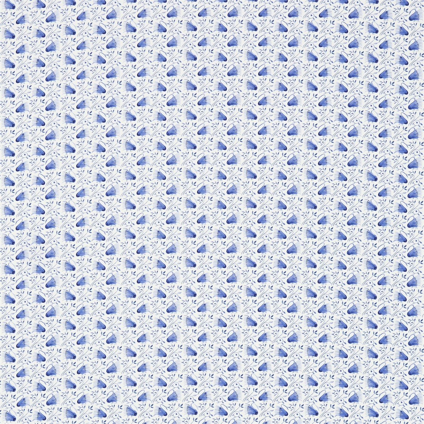 Image of Morris & Co Swans Delft Blue Curtain Fabric 224479