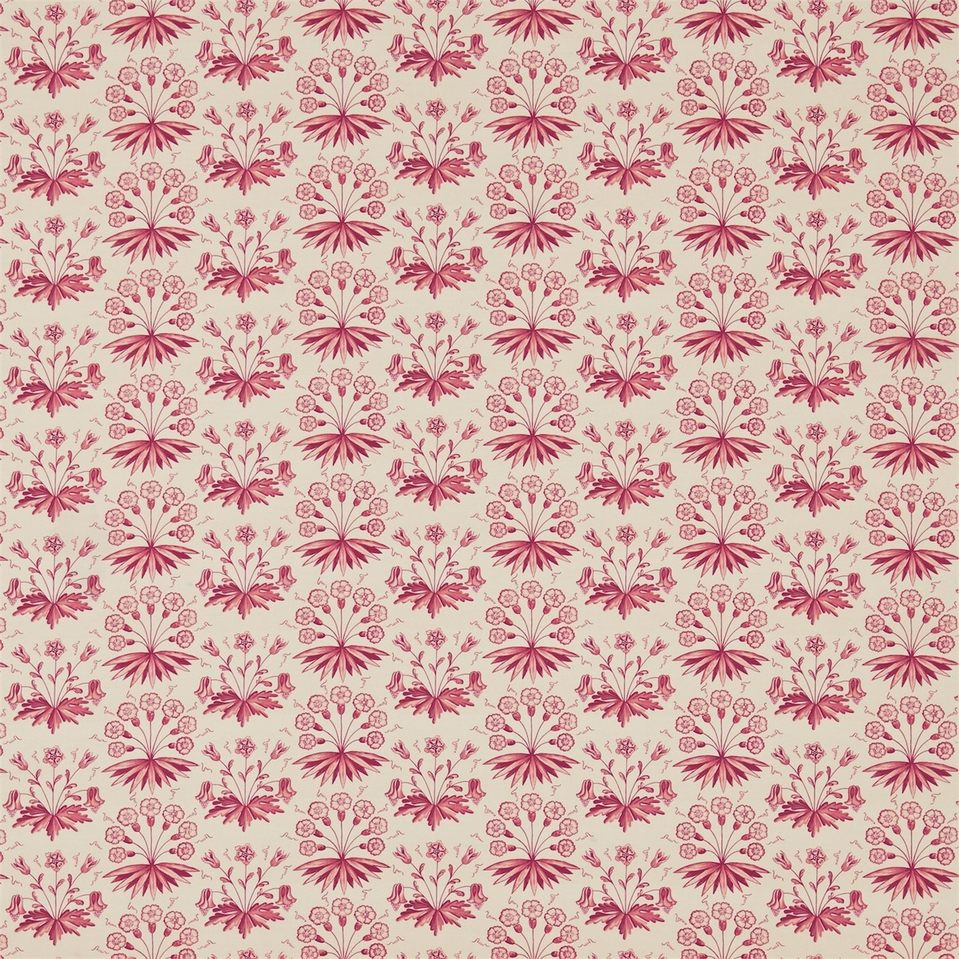 Image of Morris & Co Primrose & Columbine Claret Curtain Fabric 224482