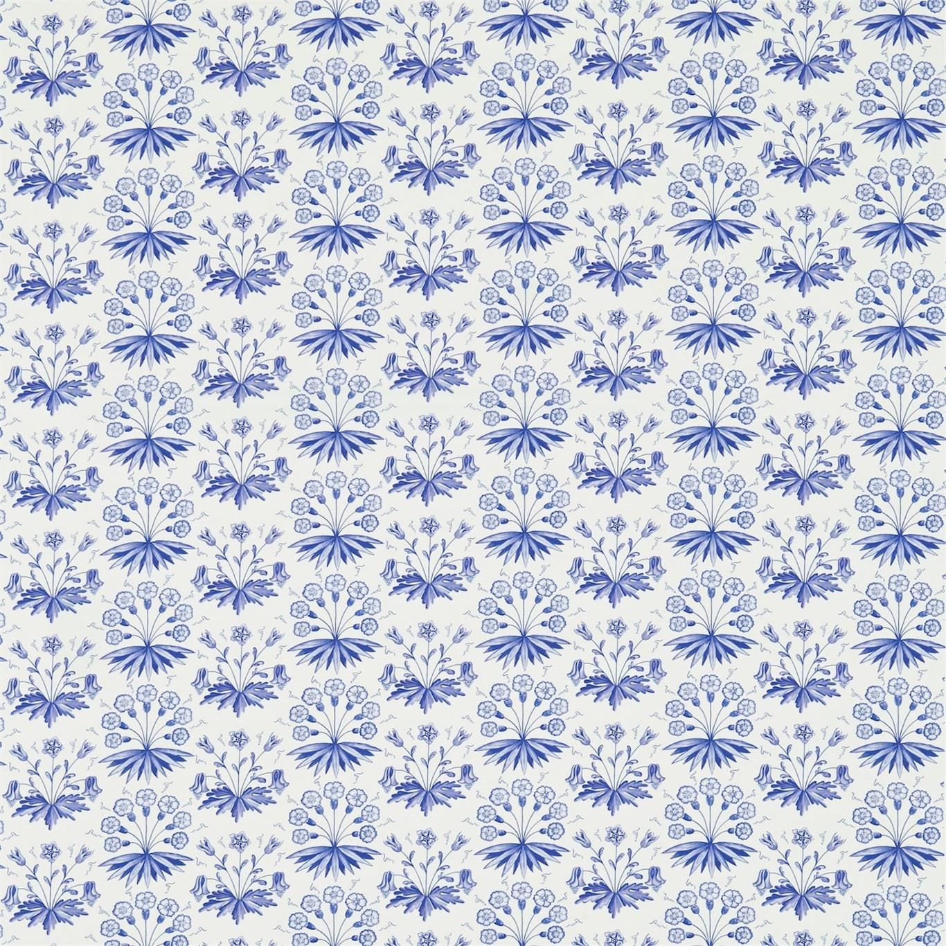 Image of Morris & Co Primrose & Columbine Delft Blue Curtain Fabric 224483