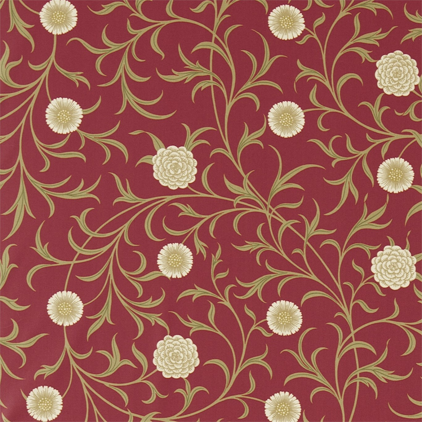Image of Morris & Co Scroll Raspberry/Olive Curtain Fabric 220310