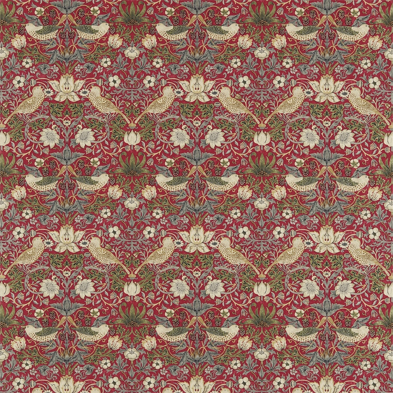 William Morris Strawberry Thief Crimson/Slate Curtain Fabric 220312