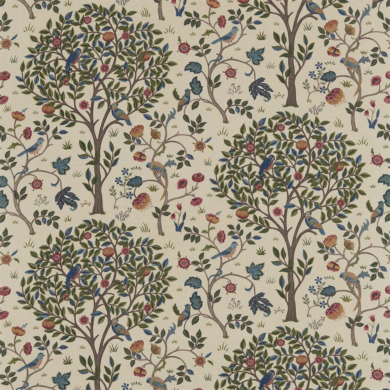 Image of Morris & Co Kelmscott Tree Woad/Wine Curtain Fabric 220327, 226449