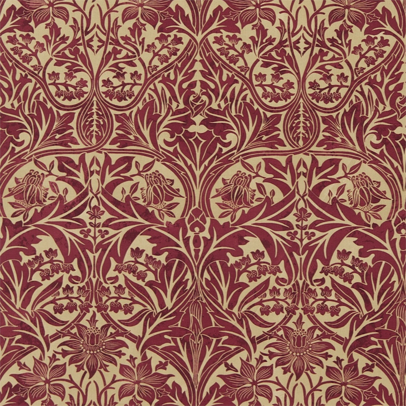 Image of Morris & Co Bluebell Claret/Gold Curtain Fabric 220332
