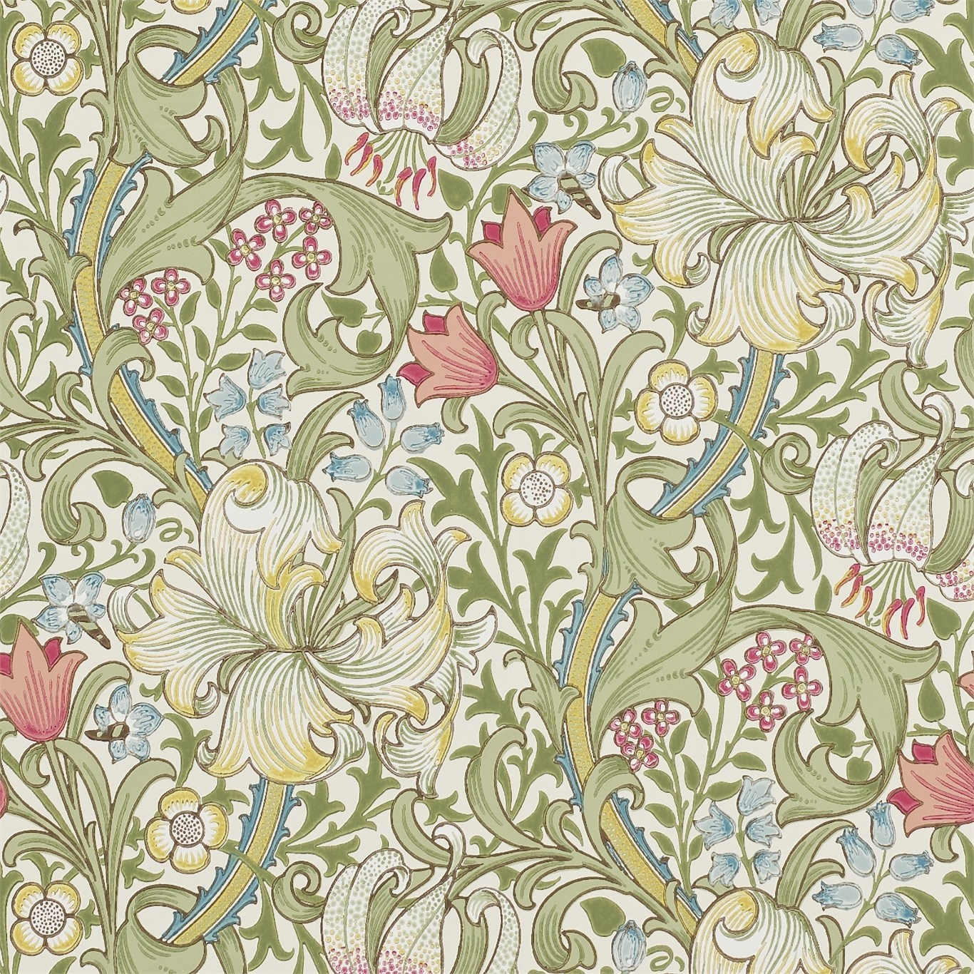 Morris Co Golden Lily Green Red Wallpaper 210398