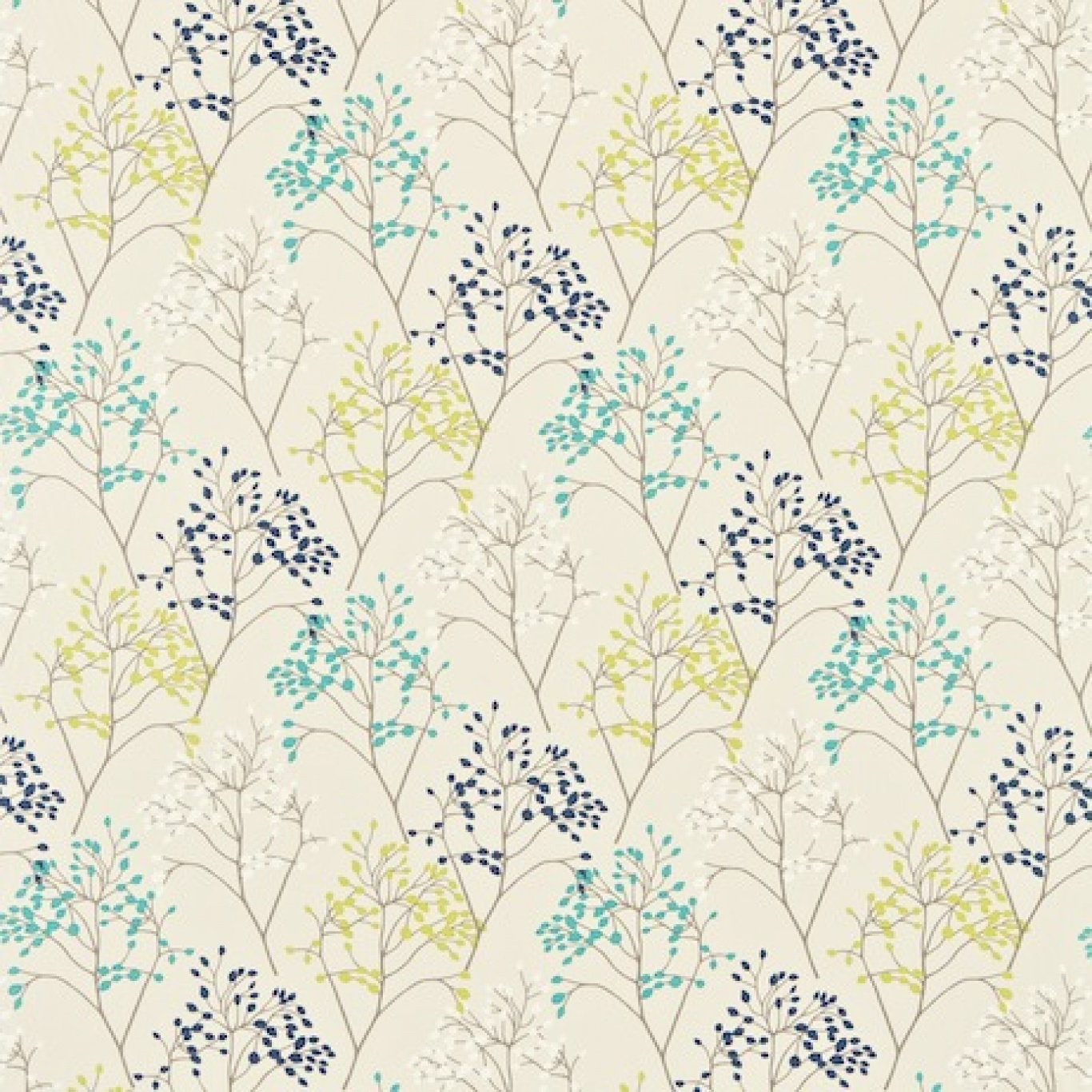 Image of Sanderson Pippin Teal/Linden Curtain Fabric 222728