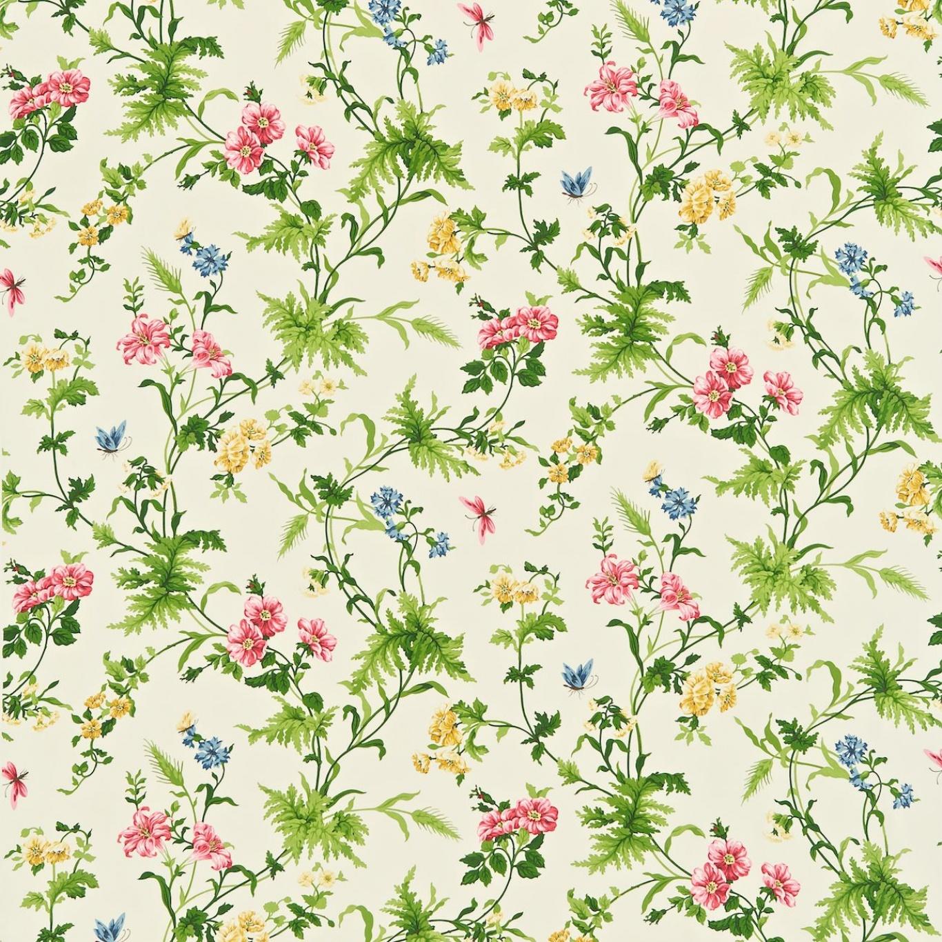 Image of Sanderson Primrose Hill Cherry/Primrose Curtain Fabric 221940