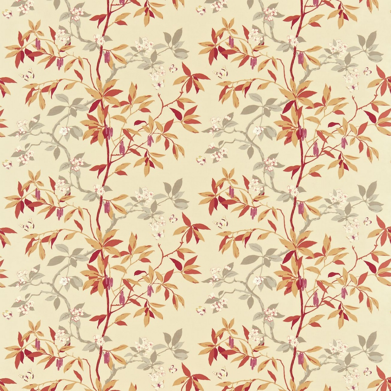 Image of Sanderson Cherry Bough Russet/Steel Curtain Fabric 221945