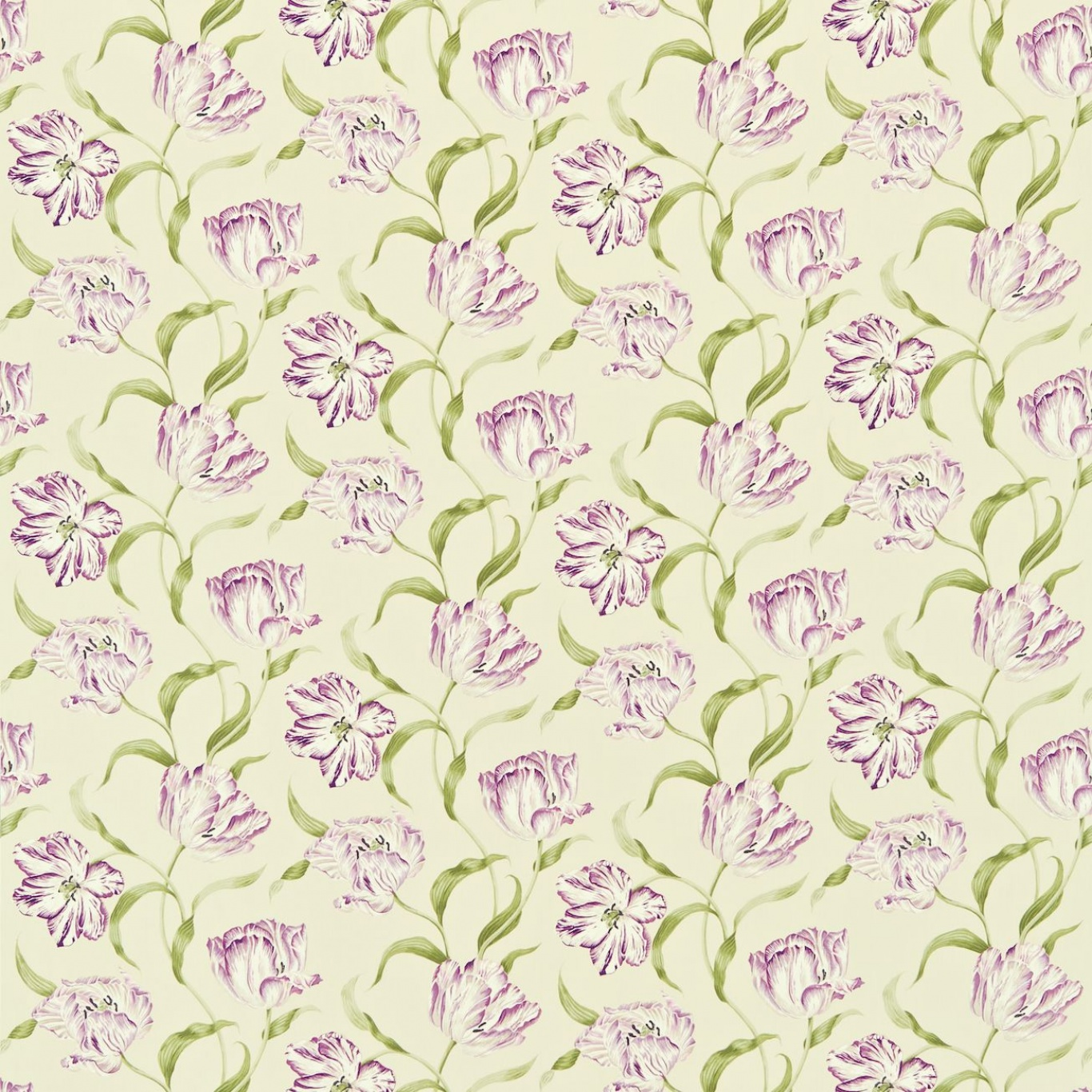 Image of Sanderson Dancing Tulips  Lilac/Stone Curtain Fabric 221947