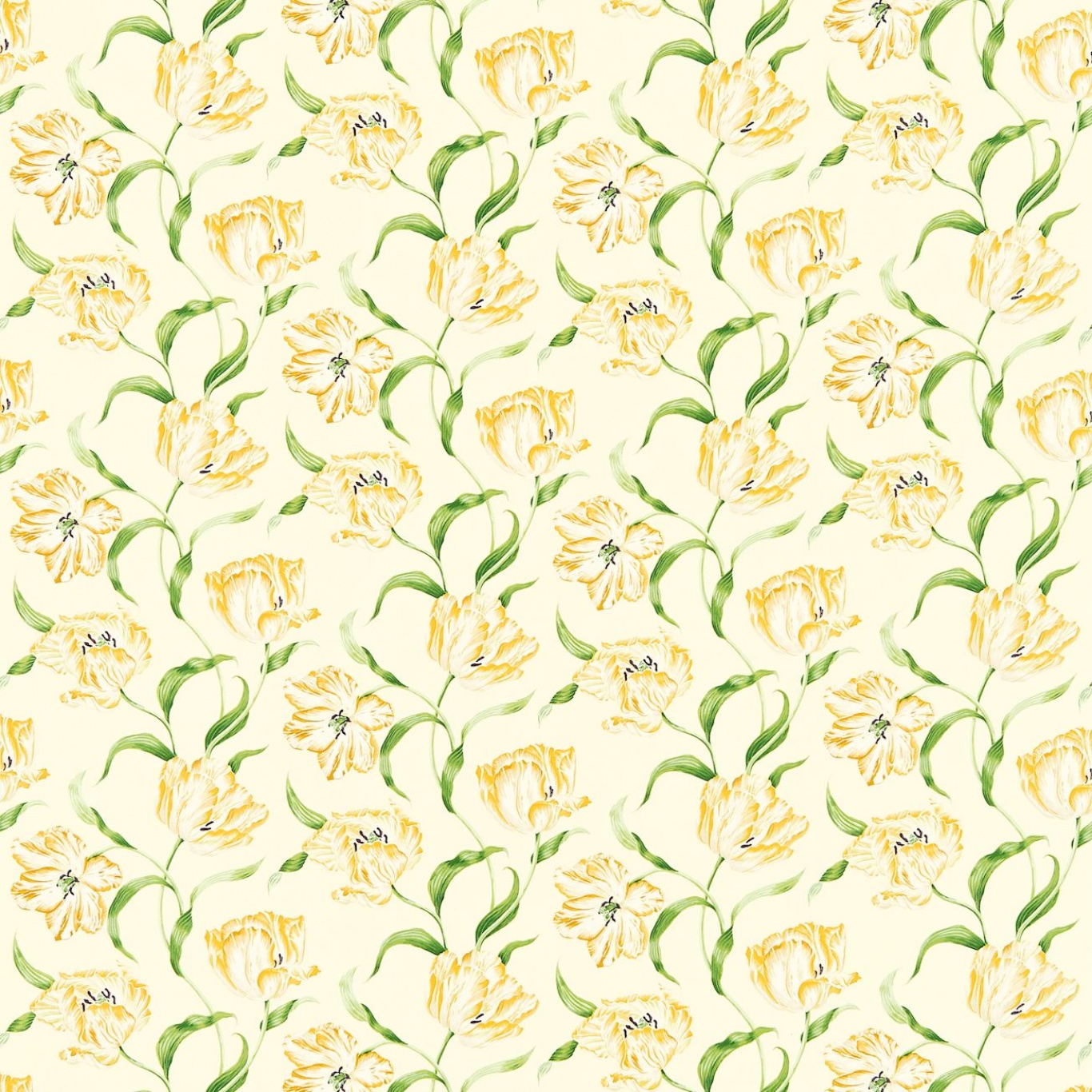 Image of Sanderson Dancing Tulips Primrose/Green Curtain Fabric 221951