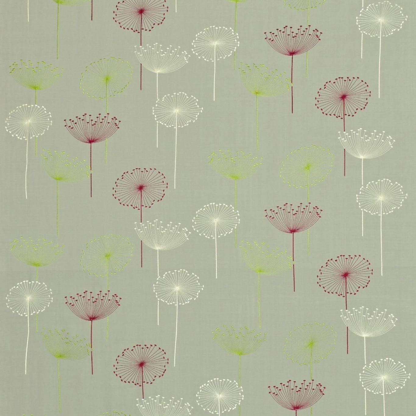 Image of Sanderson Dandelion Clocks Embroidery Silver/Blackcurrant Fabric DOPEDA302
