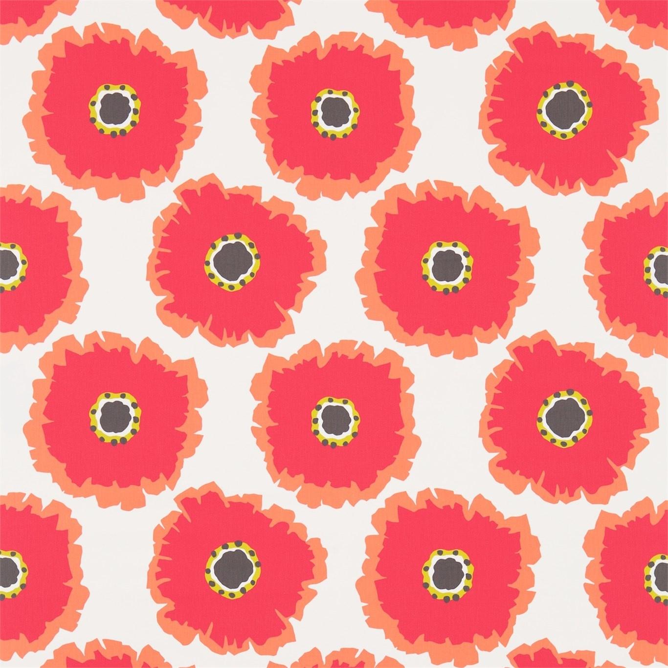 Image of Sanderson Papavera Chalk/Coral Fabric 224611
