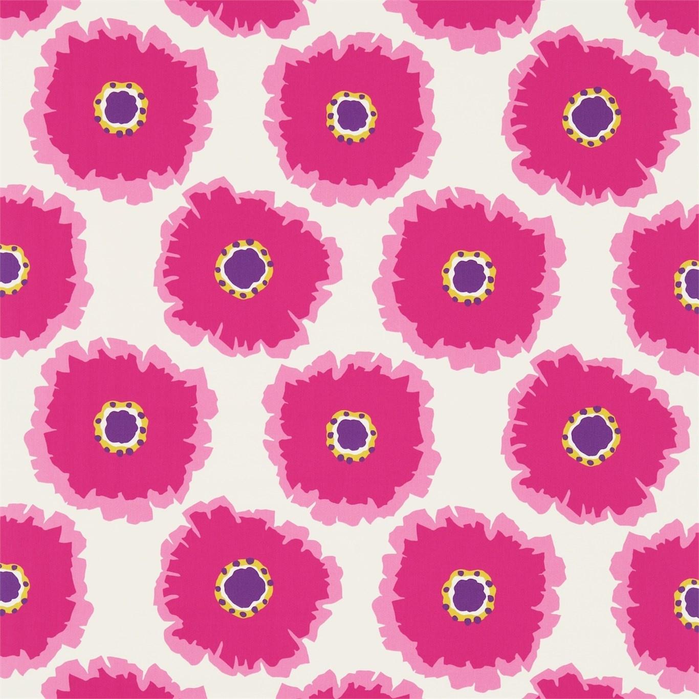 Image of Sanderson Papavera Cream/Fuchsia Fabric 224613