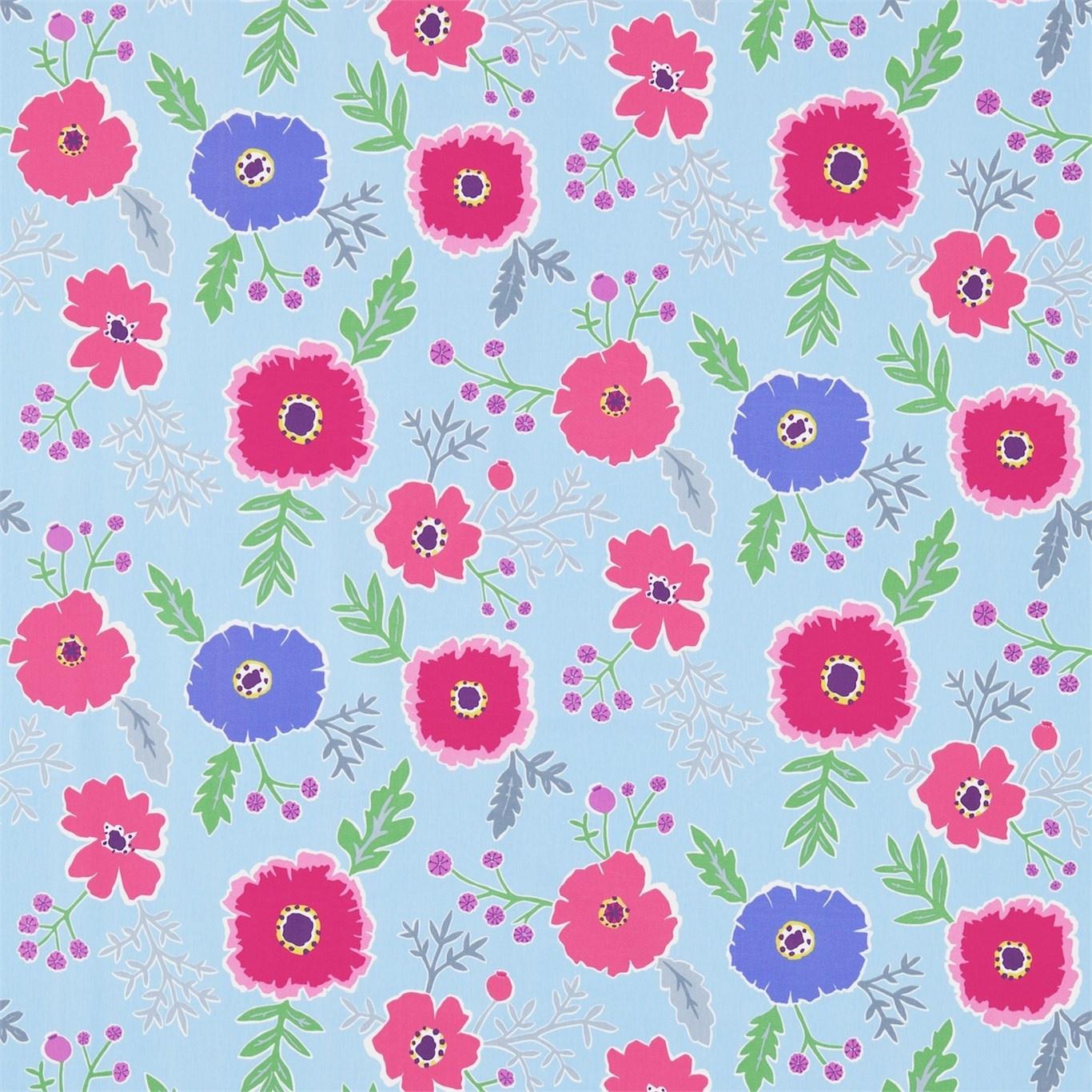 Image of Sanderson Wind Poppies Powder Blue/Fuchsia Fabric 224619