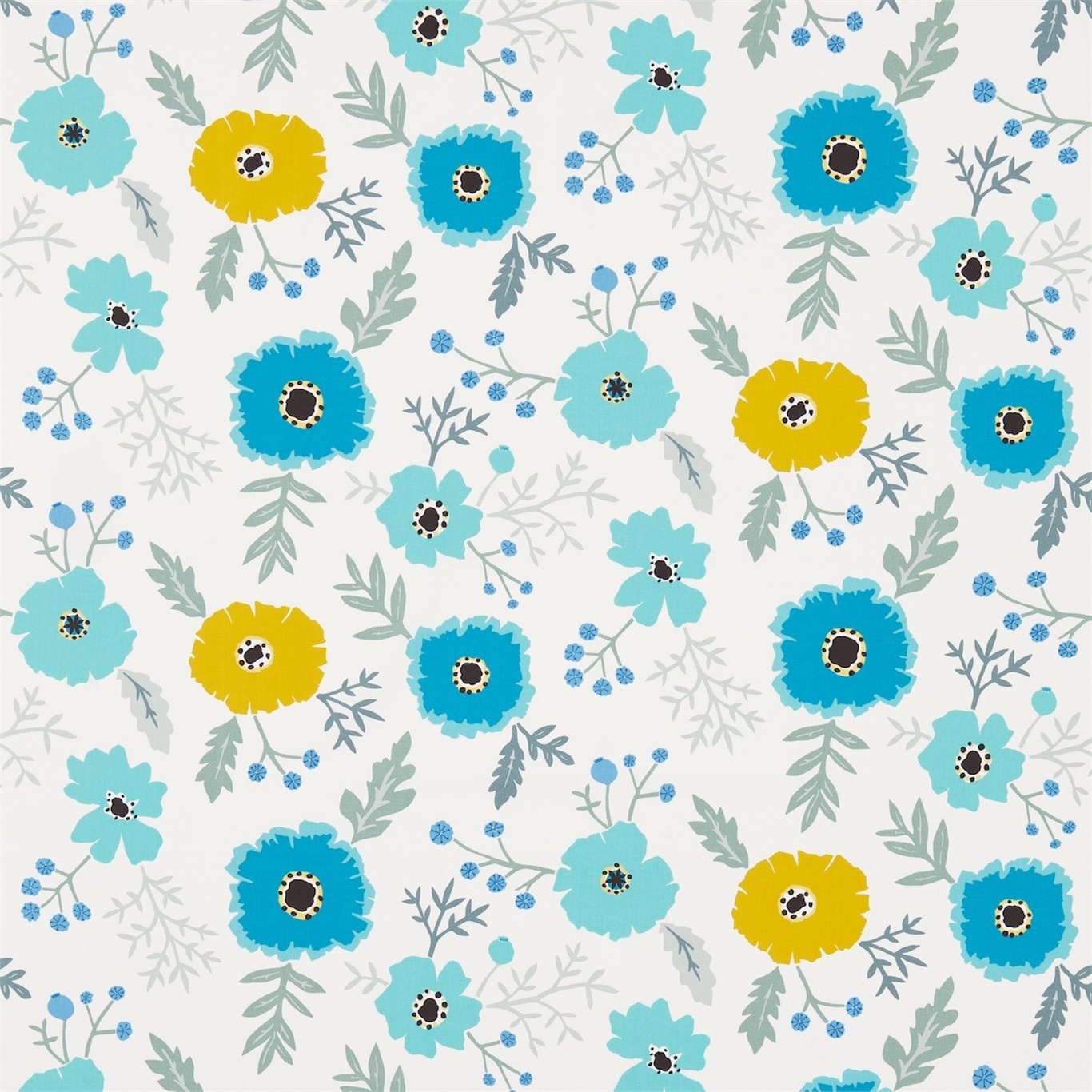 Image of Sanderson Wind Poppies Cadmium/Teal Fabric 224621